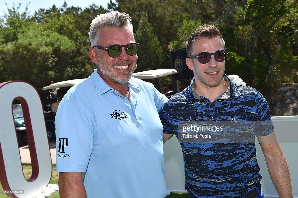 Darren Clarke and Alessandro Del Piero (R) pose during The Costa Smeralda Invitational golf tournament at Pevero Golf Club - Costa Smeralda on June 25, 2016 in Olbia, Italy.