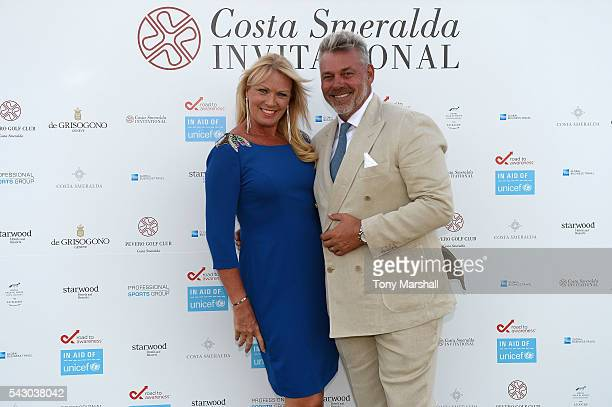 Darren Clarke and Alison Campbell attend the Gala Dinner during The Costa Smeralda Invitational golf tournament at Pevero Golf Club Costa Smeralda on...