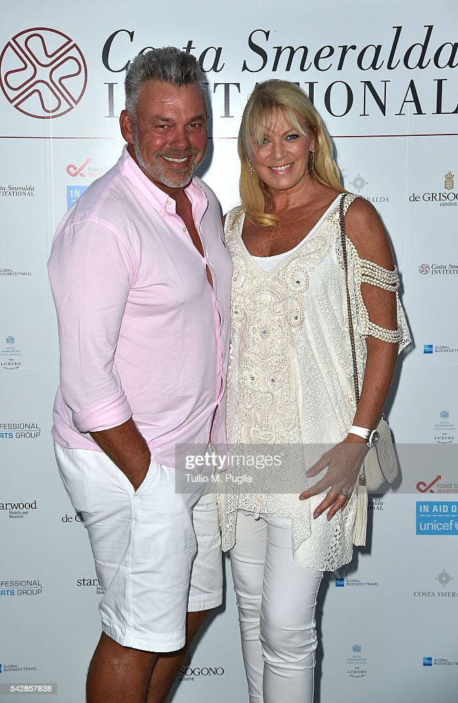 <a gi-track='captionPersonalityLinkClicked' href=/galleries/search?phrase=Darren+Clarke&family=editorial&specificpeople=171309 ng-click='$event.stopPropagation()'>Darren Clarke</a> and <a gi-track='captionPersonalityLinkClicked' href=/galleries/search?phrase=Alison+Campbell&family=editorial&specificpeople=7218095 ng-click='$event.stopPropagation()'>Alison Campbell</a> attend the Welcome Dinner prior to The Costa Smeralda Invitational golf tournament at Pevero Golf Club - Costa Smeralda on June 24, 2016 in Olbia, Italy.