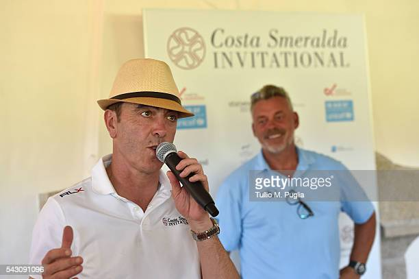 Darren Clarke and James Nesbitt attend The Costa Smeralda Invitational golf tournament at Pevero Golf Club Costa Smeralda on June 25 2016 in Olbia...
