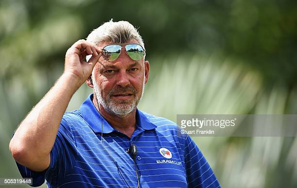 Darren Clarke Captain of team Europe looks on during the final day's singles matches at the EurAsia Cup presented by DRBHICOM at Glenmarie GCC on...