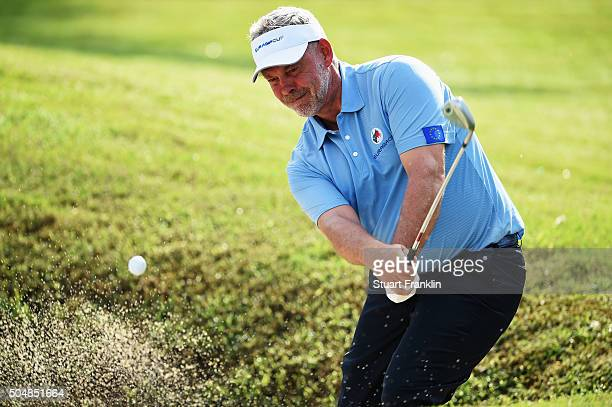 Darren Clarke Captain of team Europe plays a shot during the pro am prior to the start of the EurAsia Cup presented by DRBHICOM at Glenmarie GCC on...