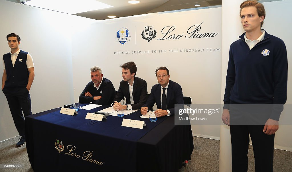 <a gi-track='captionPersonalityLinkClicked' href=/galleries/search?phrase=Darren+Clarke&family=editorial&specificpeople=171309 ng-click='$event.stopPropagation()'>Darren Clarke</a>, European Ryder Cup Captain, Antione Arnault, Loro Piana and Pascal Grizot, president of Ryder Cup France pictured during the launch of the official Clothing Suppliers to European Ryder Cup Team during day one of the 100th Open de France at Le Golf National on June 30, 2016 in Paris, France.