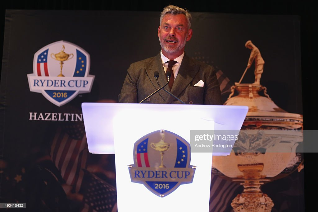 Darren Clarke, European Ryder Cup Captain, makes a speech during the 2016 Ryder Cup 'Welcome To Minnesota' Breakfast at the Windows on Minnesota building on September 28, 2015 in Minneapolis, Minnesota.