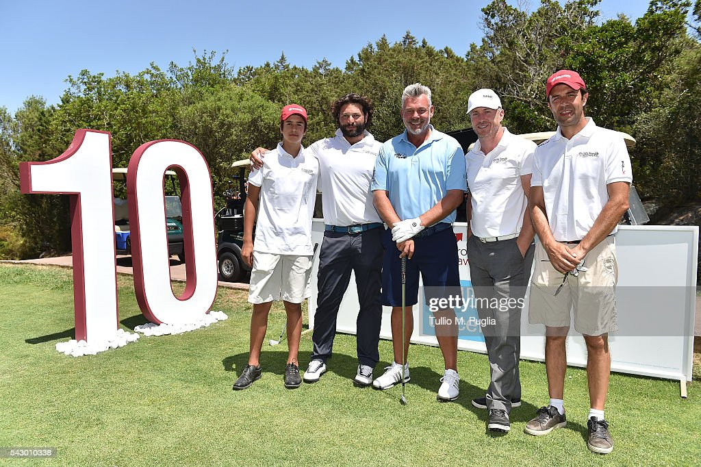 Darren Clarke, James Jordan, Paolo Fundaro, Federico Fundaro and Alessando Ragnedda pose during The Costa Smeralda Invitational golf tournament at Pevero Golf Club - Costa Smeralda on June 25, 2016 in Olbia, Italy.