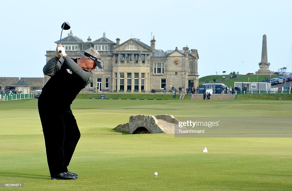 Darren Clarke of Northern Ireland drives off the 18th tee during the final round of the Alfred Dunhill Links Championship on The Old Course, at St Andrews on September 29, 2013 in St Andrews, Scotland.