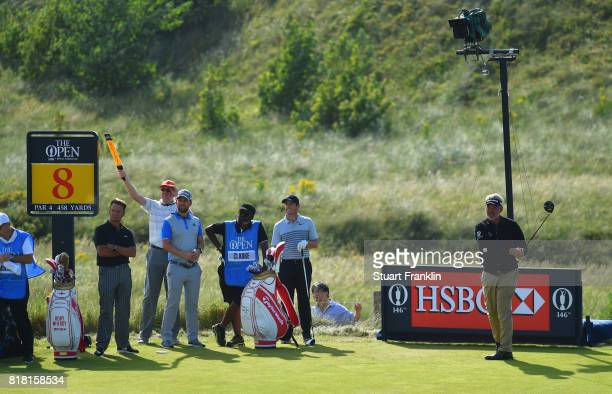 Darren Clarke of Northern Ireland hits a tee shot on the 8th tee during a practice round prior to the 146th Open Championship at Royal Birkdale on...