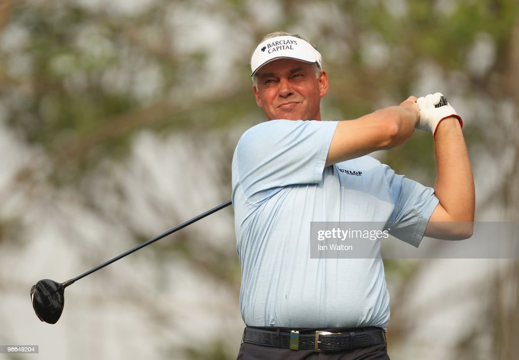 Darren Clarke of Northern Ireland in action during Round Three of the Avantha Masters held at The DLF Golf and Country Club on February 13 2010 in...