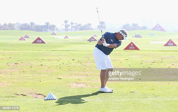 Darren Clarke of Northern Ireland is pictured wearing shorts during practice prior to the start of the Abu Dhabi HSBC Golf Championship at the Abu...