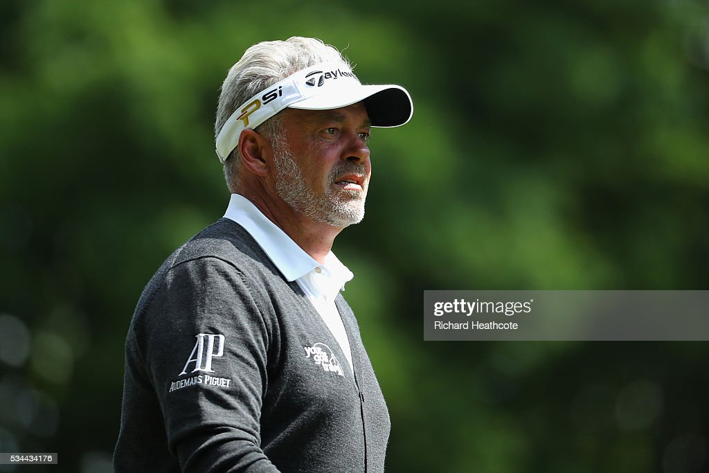 Darren Clarke of Northern Ireland looks on during day one of the BMW PGA Championship at Wentworth on May 26, 2016 in Virginia Water, England.