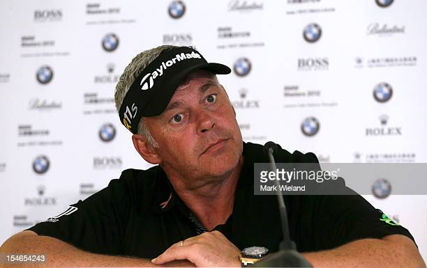Darren Clarke of Northern Ireland looks on in a press conference during the Pro Am event prior to the start of the BMW Masters at Lake Malaren Golf...