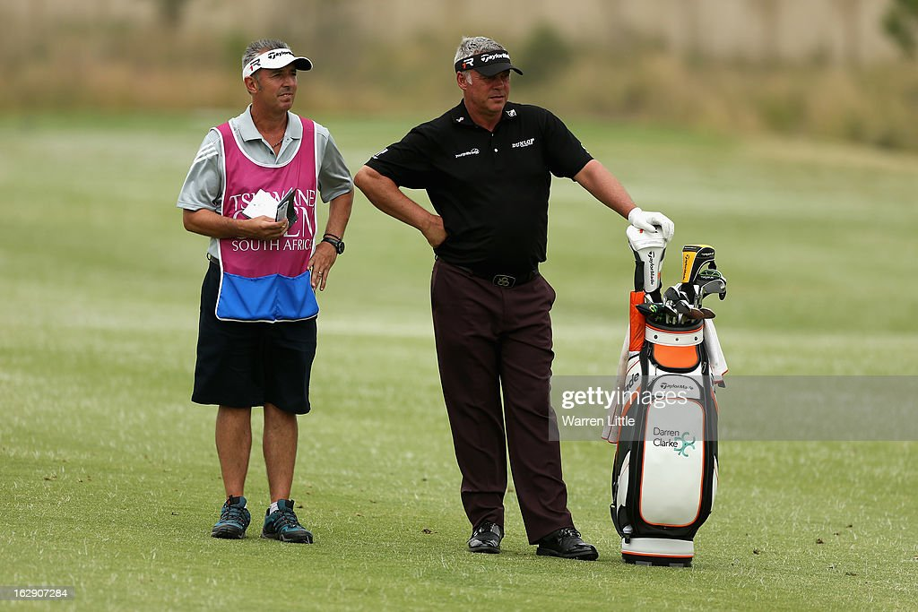 <a gi-track='captionPersonalityLinkClicked' href=/galleries/search?phrase=Darren+Clarke&family=editorial&specificpeople=171309 ng-click='$event.stopPropagation()'>Darren Clarke</a> of Northern Ireland prepares to plays his second shot into the sixth green during the second round of the Tshwane Open at Copperleaf Golf & Country Estate on March 1, 2013 in Centurion, South Africa.