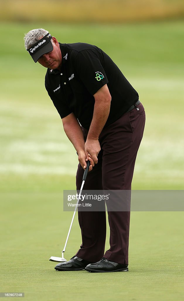 <a gi-track='captionPersonalityLinkClicked' href=/galleries/search?phrase=Darren+Clarke&family=editorial&specificpeople=171309 ng-click='$event.stopPropagation()'>Darren Clarke</a> of Northern Ireland putts on the sixth green during the second round of the Tshwane Open at Copperleaf Golf & Country Estate on March 1, 2013 in Centurion, South Africa.