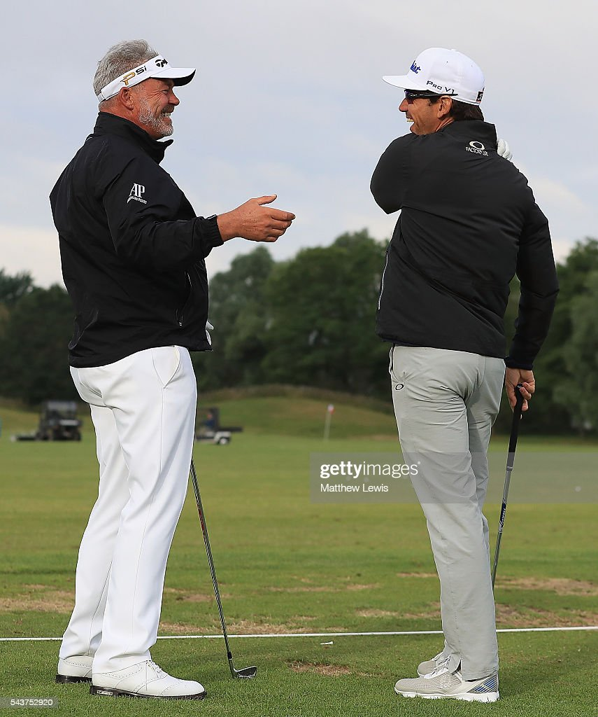 <a gi-track='captionPersonalityLinkClicked' href=/galleries/search?phrase=Darren+Clarke&family=editorial&specificpeople=171309 ng-click='$event.stopPropagation()'>Darren Clarke</a> of Northern Ireland talks Rafa Cabrera-Bello of Spain ahead of day one of the 100th Open de France at Le Golf National on June 30, 2016 in Paris, France.
