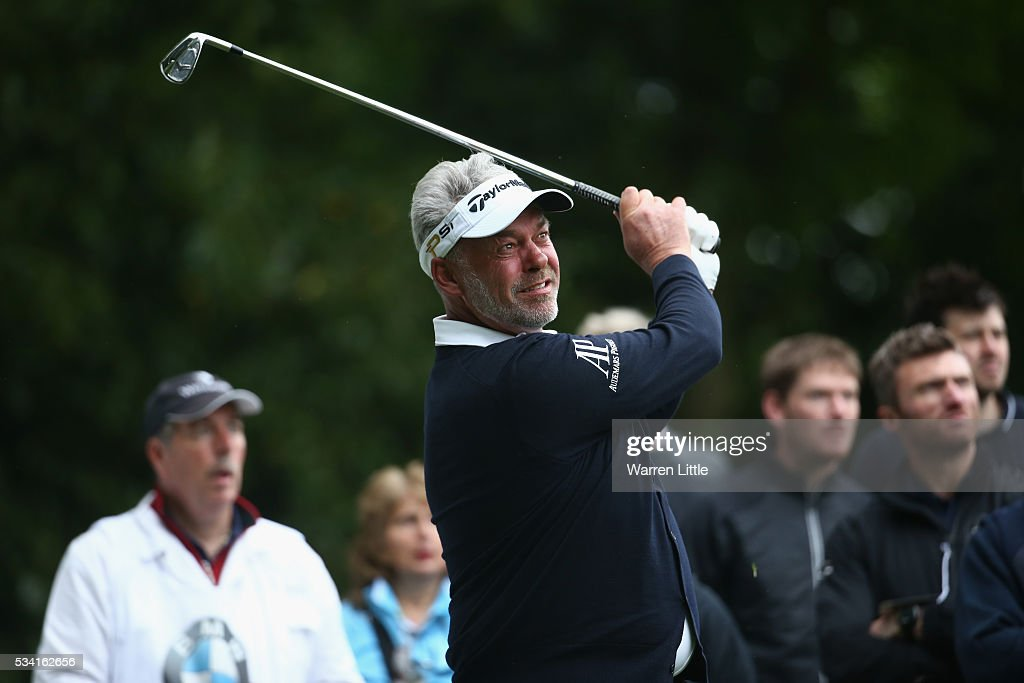 <a gi-track='captionPersonalityLinkClicked' href=/galleries/search?phrase=Darren+Clarke&family=editorial&specificpeople=171309 ng-click='$event.stopPropagation()'>Darren Clarke</a> of Northern Ireland tees off during the Pro-Am prior to the BMW PGA Championship at Wentworth on May 25, 2016 in Virginia Water, England.