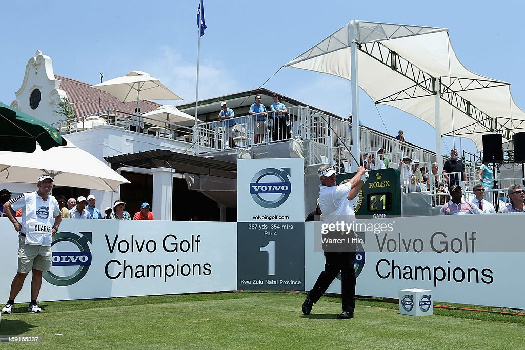 Darren Clarke of Northern Ireland tees off on the first hole during the Pro-Am for the Volvo Golf Champions at Durban Country Club on January 9, 2013 in Durban, South Africa.