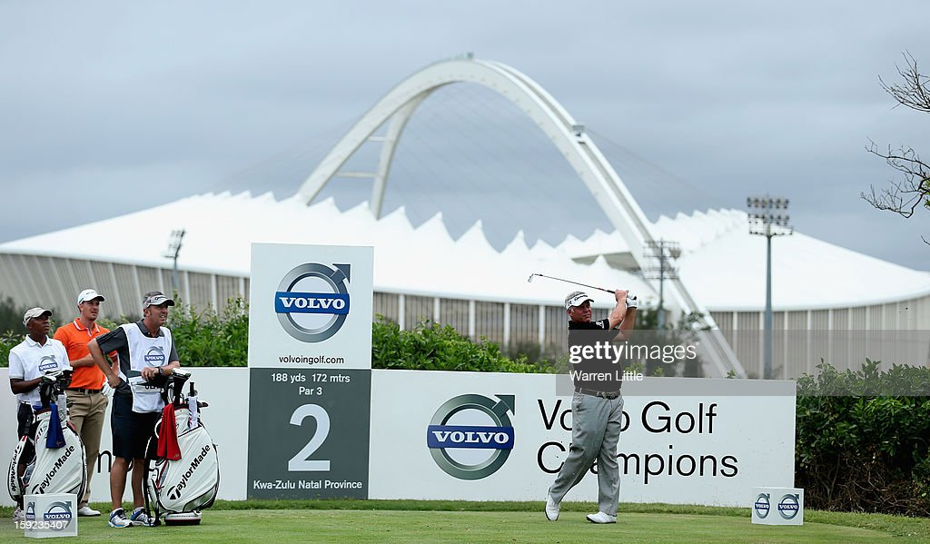 <a gi-track='captionPersonalityLinkClicked' href=/galleries/search?phrase=Darren+Clarke&family=editorial&specificpeople=171309 ng-click='$event.stopPropagation()'>Darren Clarke</a> of Northern Ireland tees off on the second hole during the first round of the Volvo Golf Champions at Durban Country Club on January 10, 2013 in Durban, South Africa.