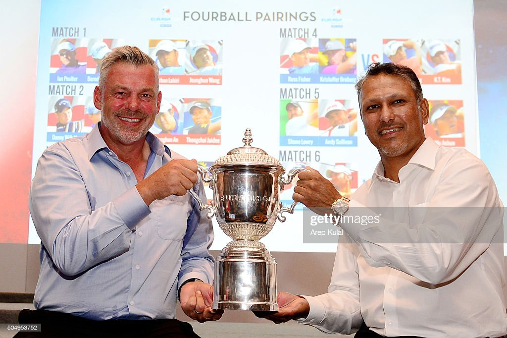 <a gi-track='captionPersonalityLinkClicked' href=/galleries/search?phrase=Darren+Clarke&family=editorial&specificpeople=171309 ng-click='$event.stopPropagation()'>Darren Clarke</a> (L), Team Europe Captain and <a gi-track='captionPersonalityLinkClicked' href=/galleries/search?phrase=Jeev+Milkha+Singh&family=editorial&specificpeople=562393 ng-click='$event.stopPropagation()'>Jeev Milkha Singh</a>, Team Asia Caption, pose with the trophy after the Fourball draw ahead of the Eurasia 2016 presented by DRB-HICOM at Glenmarie G&CC on January 14, 2016 in Kuala Lumpur, Malaysia.