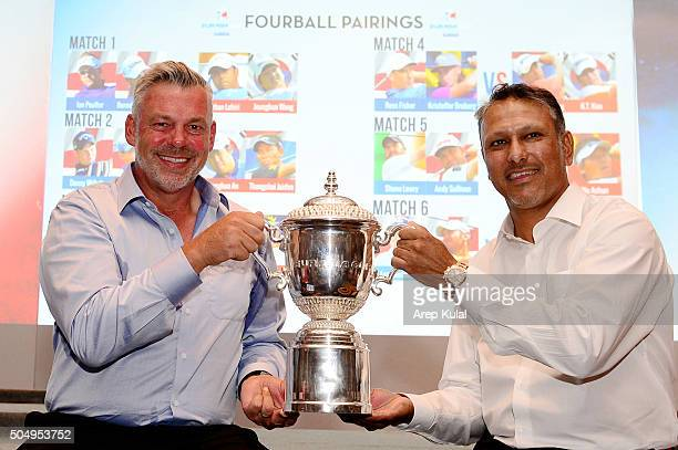 Darren Clarke Team Europe Captain and Jeev Milkha Singh Team Asia Caption pose with the trophy after the Fourball draw ahead of the Eurasia 2016...