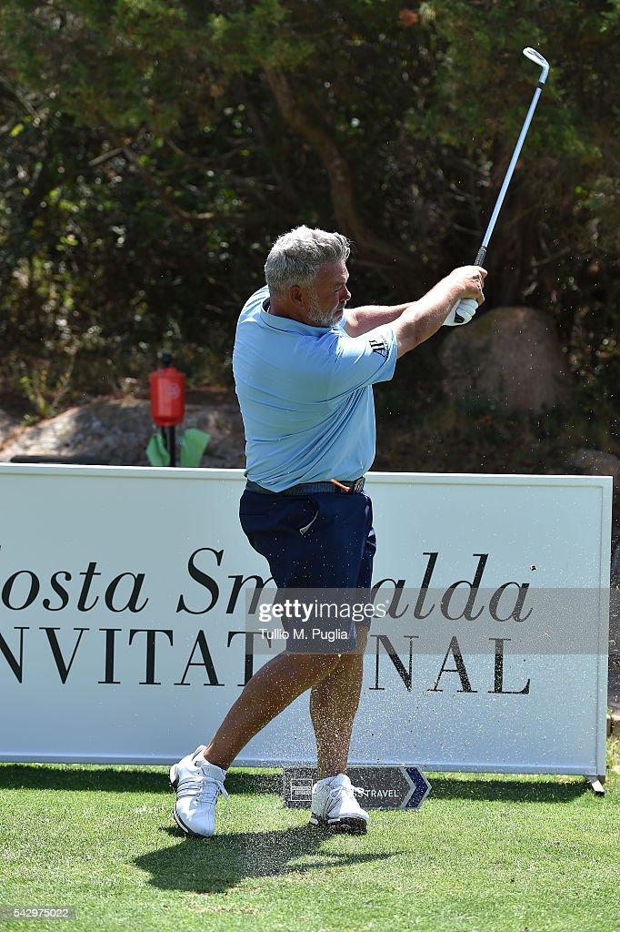 Darren Clarke tees off during The Costa Smeralda Invitational golf tournament at Pevero Golf Club - Costa Smeralda on June 25, 2016 in Olbia, Italy.