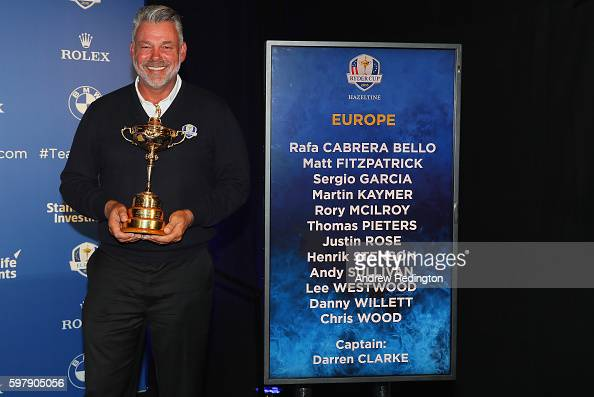 Darren Clarke the European Ryder Cup captain is pictured during the Ryder Cup Europe Press Conference at Wentworth on August 30 2016 in Virginia...