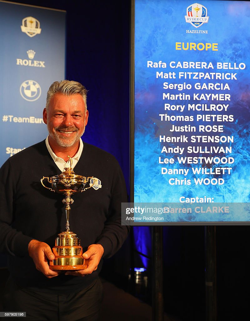 Darren Clarke, the European Ryder Cup captain, is pictured during the Ryder Cup Europe Press Conference at Wentworth on August 30, 2016 in Virginia Water, England.