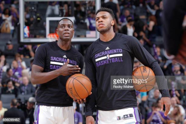 Darren Collison and Buddy Hield of the Sacramento Kings talk prior to the game against the Orlando Magic on March 13 2017 at Golden 1 Center in...