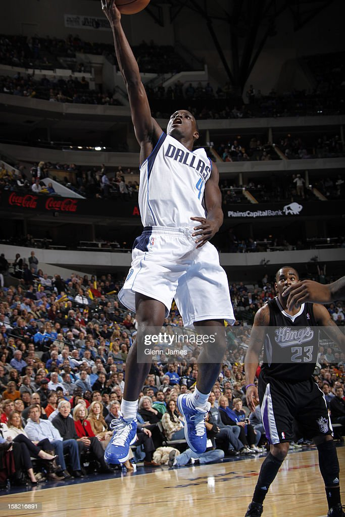 Darren Collison #4 of the Dallas Mavericks drives to the basket against the Sacramento Kings on December 10, 2012 at the American Airlines Center in Dallas, Texas.