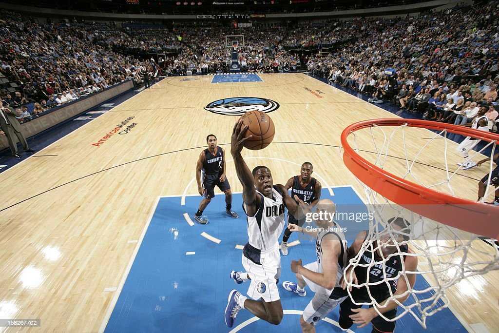 <a gi-track='captionPersonalityLinkClicked' href=/galleries/search?phrase=Darren+Collison&family=editorial&specificpeople=699031 ng-click='$event.stopPropagation()'>Darren Collison</a> #4 of the Dallas Mavericks drives to the basket against the Charlotte Bobcats on November 3, 2012 at the American Airlines Center in Dallas, Texas.