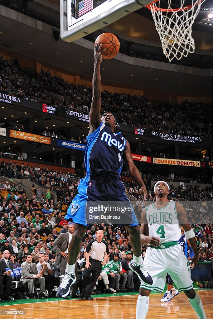 Darren Collison #4 of the Dallas Mavericks drives to the basket against the Boston Celtics on December 12, 2012 at the TD Garden in Boston, Massachusetts.