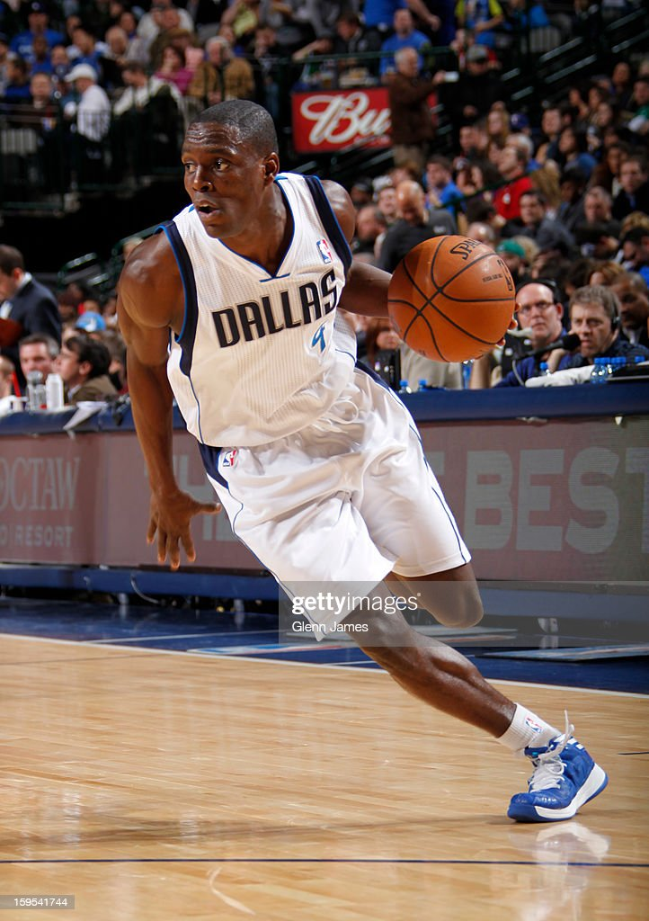Darren Collison #4 of the Dallas Mavericks drives to the basket against the Minnesota Timberwolves on January 14, 2013 at the American Airlines Center in Dallas, Texas.