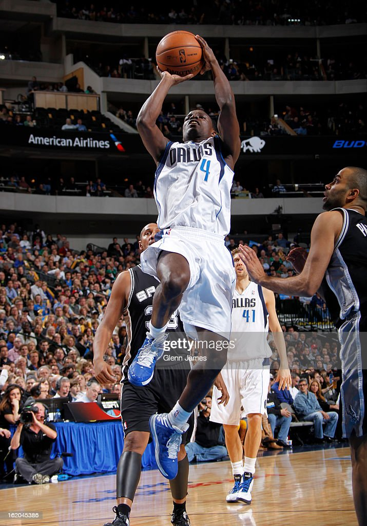 Darren Collison #4 of the Dallas Mavericks drives to the basket against the San Antonio Spurs on January 25, 2013 at the American Airlines Center in Dallas, Texas.