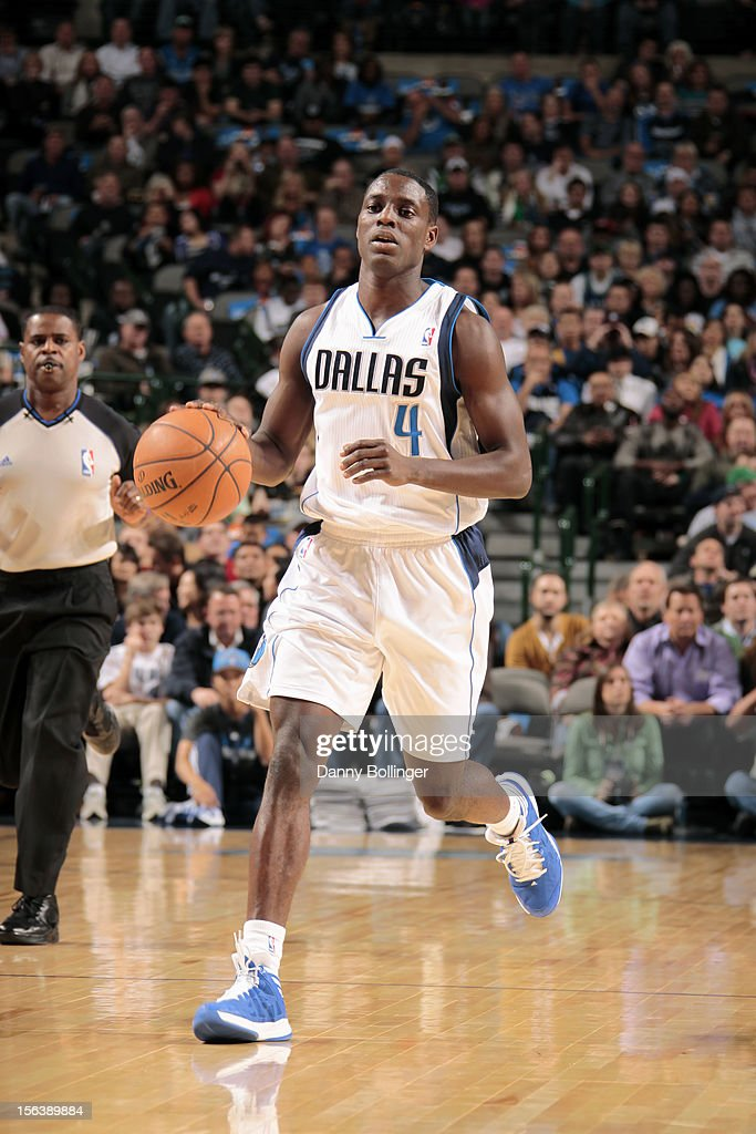 <a gi-track='captionPersonalityLinkClicked' href=/galleries/search?phrase=Darren+Collison&family=editorial&specificpeople=699031 ng-click='$event.stopPropagation()'>Darren Collison</a> #4 of the Dallas Mavericks handles the ball against the Minnesota Timberwolves on November 12, 2012 at the American Airlines Center in Dallas, Texas.