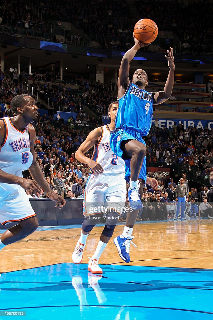 Darren Collison #4 of the Dallas Mavericks shoots in the lane against the Oklahoma City Thunder on December 27, 2012 at the Chesapeake Energy Arena in Oklahoma City, Oklahoma.