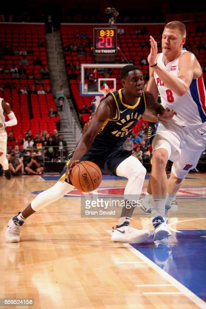 Darren Collison of the Indiana Pacers handles the ball against the Detroit Pistons on October 9 2017 at Little Caesars Arena in Detroit Michigan NOTE...