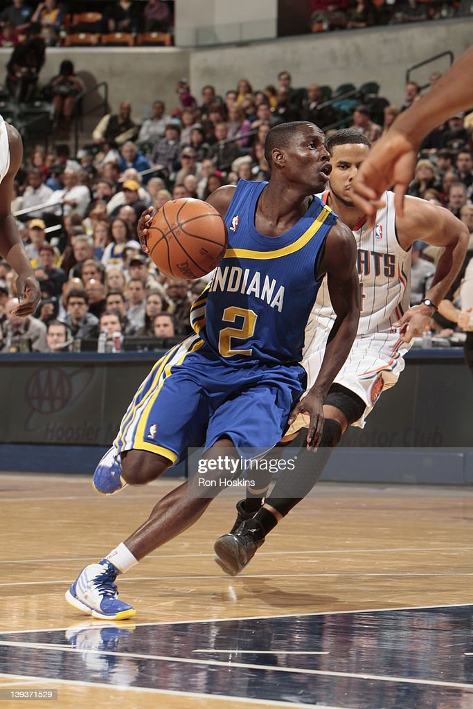 <a gi-track='captionPersonalityLinkClicked' href=/galleries/search?phrase=Darren+Collison&family=editorial&specificpeople=699031 ng-click='$event.stopPropagation()'>Darren Collison</a> #2 of the Indiana Pacers moves the ball against the Charlotte Bobcats on February 19, 2012 at Bankers Life Fieldhouse in Indianapolis, Indiana.