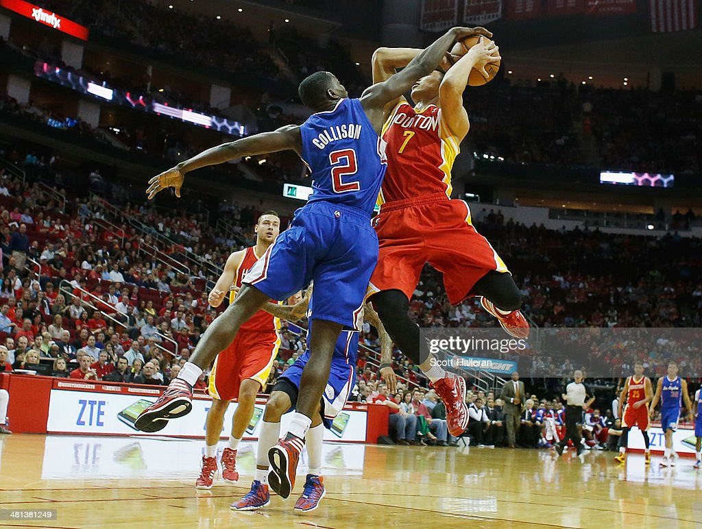 <a gi-track='captionPersonalityLinkClicked' href=/galleries/search?phrase=Darren+Collison&family=editorial&specificpeople=699031 ng-click='$event.stopPropagation()'>Darren Collison</a> #2 of the Los Angeles Clippers blocks a shot by <a gi-track='captionPersonalityLinkClicked' href=/galleries/search?phrase=Jeremy+Lin&family=editorial&specificpeople=6669516 ng-click='$event.stopPropagation()'>Jeremy Lin</a> #7 of the Houston Rockets during the game at the Toyota Center on March 29, 2014 in Houston, Texas.