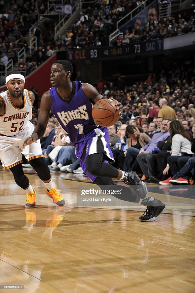 <a gi-track='captionPersonalityLinkClicked' href=/galleries/search?phrase=Darren+Collison&family=editorial&specificpeople=699031 ng-click='$event.stopPropagation()'>Darren Collison</a> #7 of the Sacramento Kings drives to the basket against the Cleveland Cavaliers on February 8, 2016 at Quicken Loans Arena in Cleveland, Ohio.