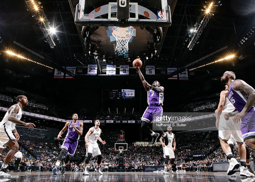 Darren Collison #7 of the Sacramento Kings goes for the lay up during the game against the Brooklyn Nets on November 27, 2016 at Barclays Center in Brooklyn, New York.