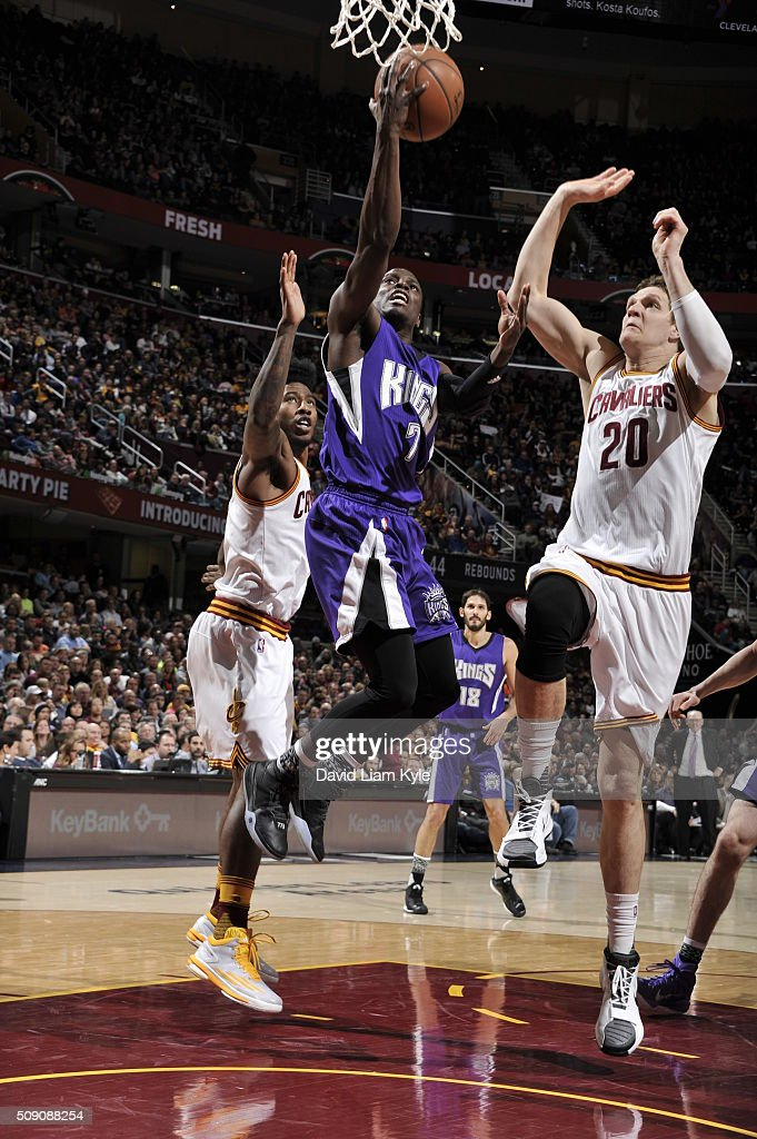 <a gi-track='captionPersonalityLinkClicked' href=/galleries/search?phrase=Darren+Collison&family=editorial&specificpeople=699031 ng-click='$event.stopPropagation()'>Darren Collison</a> #7 of the Sacramento Kings goes to the basket against <a gi-track='captionPersonalityLinkClicked' href=/galleries/search?phrase=Timofey+Mozgov&family=editorial&specificpeople=3949705 ng-click='$event.stopPropagation()'>Timofey Mozgov</a> #20 of the Cleveland Cavaliers on February 8, 2016 at Quicken Loans Arena in Cleveland, Ohio.
