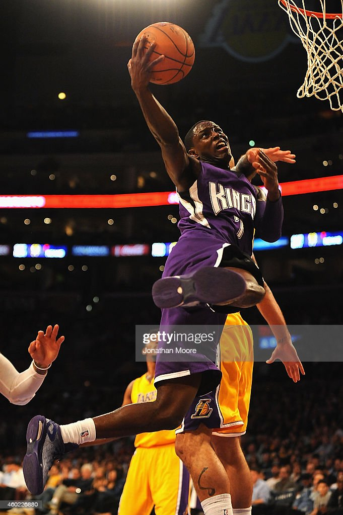 Darren Collison of the Sacramento Kings goes up for a shot during a game against the Los Angeles Lakers at Staples Center on December 9 2014 in Los...