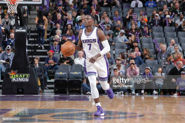 Darren Collison of the Sacramento Kings handles the ball during a game against the Memphis Grizzlies on March 27 2017 at Golden 1 Center in...