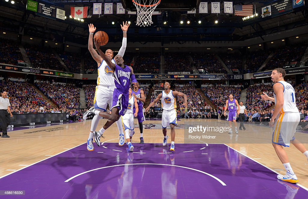 <a gi-track='captionPersonalityLinkClicked' href=/galleries/search?phrase=Darren+Collison&family=editorial&specificpeople=699031 ng-click='$event.stopPropagation()'>Darren Collison</a> #7 of the Sacramento Kings puts up a shot against <a gi-track='captionPersonalityLinkClicked' href=/galleries/search?phrase=Marreese+Speights&family=editorial&specificpeople=4187263 ng-click='$event.stopPropagation()'>Marreese Speights</a> #5 of the Golden State Warriors on October 29, 2014 at Sleep Train Arena in Sacramento, California.