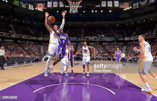 Darren Collison of the Sacramento Kings puts up a shot against Marreese Speights of the Golden State Warriors on October 29 2014 at Sleep Train Arena...