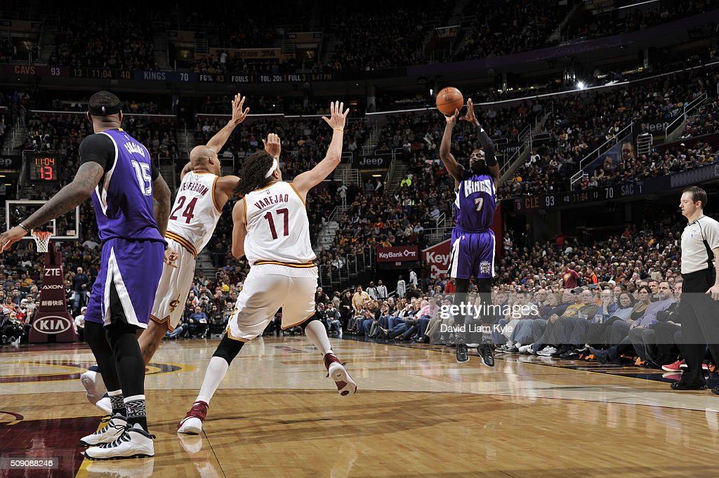 <a gi-track='captionPersonalityLinkClicked' href=/galleries/search?phrase=Darren+Collison&family=editorial&specificpeople=699031 ng-click='$event.stopPropagation()'>Darren Collison</a> #7 of the Sacramento Kings shoots against the Cleveland Cavaliers on February 8, 2016 at Quicken Loans Arena in Cleveland, Ohio.