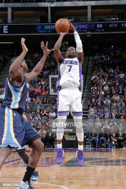 Darren Collison of the Sacramento Kings shoots the ball during a game against the Memphis Grizzlies on March 27 2017 at Golden 1 Center in Sacramento...