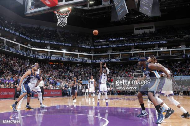 Darren Collison of the Sacramento Kings shoots the gamewinning free throw during a game against the Memphis Grizzlies on March 27 2017 at Golden 1...