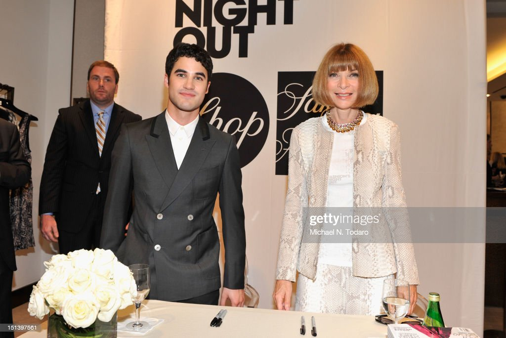 <a gi-track='captionPersonalityLinkClicked' href=/galleries/search?phrase=Darren+Criss&family=editorial&specificpeople=7341435 ng-click='$event.stopPropagation()'>Darren Criss</a>, and <a gi-track='captionPersonalityLinkClicked' href=/galleries/search?phrase=Anna+Wintour&family=editorial&specificpeople=202210 ng-click='$event.stopPropagation()'>Anna Wintour</a> attend Fashion's Night Out at Saks Fifth Avenue on September 6, 2012 in New York City.