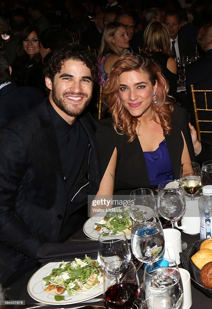 Darren Criss and girlfriend Mia Swier attend the Dramatists Guild Fund's Gala: 'Great Writers Thank Their Lucky Stars' at Gotham Hall on October 26, 2015 in New York City.