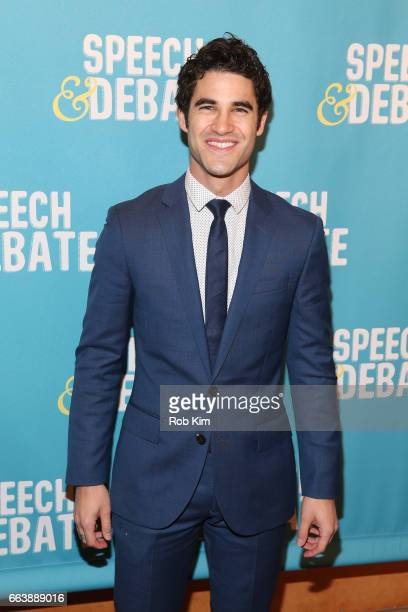 Darren Criss attends the premiere of 'Speech Debate' at American Airlines Theatre on April 2 2017 in New York City
